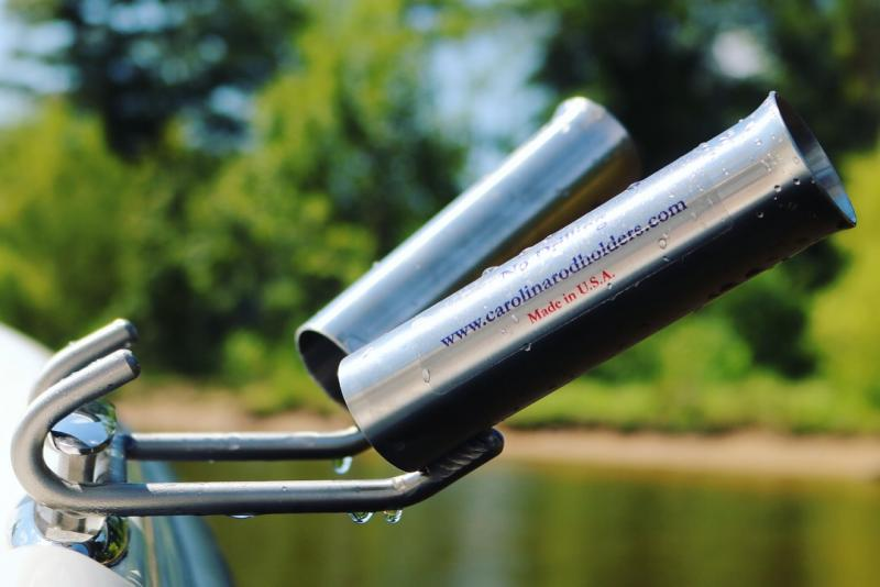 Boat fishing rod holder for carolina skiff, bass tracker and boat cleats.